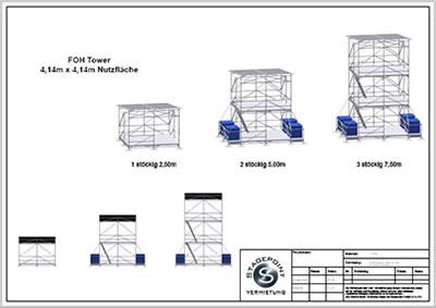 FOH Tower 4,14m x 4,14m in 3 Varianten